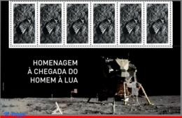 Ref. BR-V2019-13-B BRAZIL 2019 - SPACE EXPLORATION, TRIBUTE TO LUNAR LANDING, MISSION, MOON, APOLLO 11, STRIP MNH,6V - Brésil