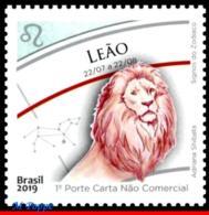 Ref. BR-V2019-14 BRAZIL 2019 ASTROLOGY, ZODIAC SIGNS, LEO,, 5TH ISSUE, CONSTELLATION OF LEO, MNH 1V - Brésil