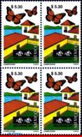 Ref. MX-2131Q MEXICO 1999 CITIES, TOURISM MICHOACAN,, BUTTERFLY, (5.30P), BLOCK MNH 4V Sc# 2131 - Mexique