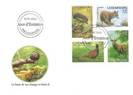 FDC - JOUR D'ÉMISSION    10-12-2002   -   LA FAUNE DE NOS CHAMPS ET FORÊTS  II - FDC