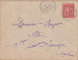 ENVELOPPE 1930  SENS A TROYES A ST JUST SAUVAGE - Marcophilie (Lettres)