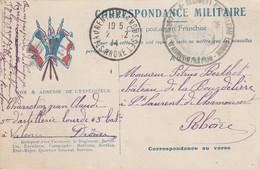 Correspondance Militaire : Du - 5é Régt. D'artillerie Lourde 63 Bat. - VALENCE - Drome ( Avec Tampon ) C;P. En Franchise - Guerre 1914-18