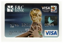 Credit Card SPORT FIFA World Cup South Africa Football Soccer Ball Bankcard F&C Bank UKRAINE VISA Expired - Tarjetas De Crédito (caducidad Min 10 Años)