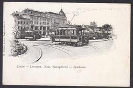 AK - UKRAINE, Lwiw , Lwów , Lemberg, Kasa Oszczednosci - Sparkassa - Tram, Gebraucht 1989 - Ucraina