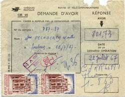 123) N°1525 Par 2 Sur Demande D'Avoir Des Chèques Postaux De Toulouse 31 (CH 46) - 1961-....