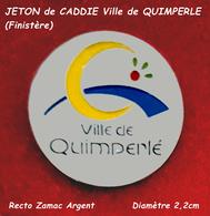 SUPERBE JETON De CADDIES : LOGO De La VILLE De QUIMPERLE En BRETAGNE Années 80, Zamac Argent Diamètre 2,2cm - Moneda Carro