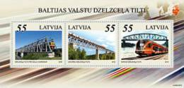 Latvia 2012 Bridges And Train Of Baltic States  - Joint Issue Estonia, Lithuania S/S MNH - Letland