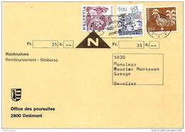 215 - 4 - Enveloppe Remboursement Envoyée De Delémont - Zwitserland
