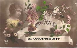 55 - VAVINCOURT : Souvenir De ... - Jolie CPA Fantaisie ( Jeune Fille Et Fleurs ) - Meuse - Vavincourt