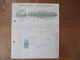 CAMBRAI LOUIS REY EPICERIE-DROGUERIE RUE DES CHANOINES 9 BIS FACTURE DU 5/10/23 TIMBRE QUITTANCES - 1900 – 1949