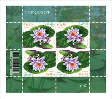2016 Latvia Lettland Lettonie Water Lilly Flower Stamp MNH  Mini Sheet 4 Stamps - Letland