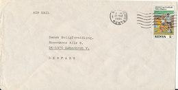 Kenya Air Mail Cover Sent To Denmark Nairobi 22-5-1986 Single Football Soccer Stamp - Kenya (1963-...)