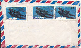 Ghana Air Mail Cover Sent To Czechoslovakia 9-7-1984 With 3 WHALE Stamps On The Backside Of The Cover - Ghana (1957-...)