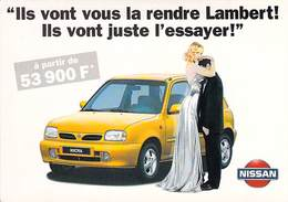 Carte Publicitaire Voiture De Tourisme NISSAN MICRA 53900 F Homme Lambert ! Avec Femme - Publicité