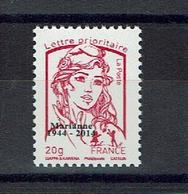 FRANCE Marianne Ciappa 20 Grs Rouge Prioritaire N** (n°4767) Surchargé 1944/2014 Rare Sur Delcampe / Lot F - 2013-... Marianne Van Ciappa-Kawena