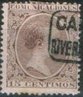 España 1889 Edifil 219 Sello * Personajes Alfonso XIII Tipo Pelon 15c Comunicaciones Spain Stamps Timbre Espagne Briefma - Usados