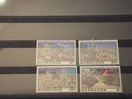 BARBADOS - 1980 FAUNA MARINA 4 VALORI - NUOVI(++) - Barbados (1966-...)