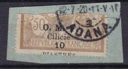 CILICIE - 10 Pi. 50 C. Brun Et Gris Sur Fragment Avec Surcharge Très Déplacée - Other