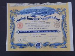 INDOCHINE - SAIGON 1929 - STE FONCIERE SAIGONNAISE - ACTION DE 100 FRS - BELLE ILLUSTRATION - Shareholdings
