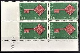 MONACO 1968 - BLOC DE 4 TP / N° 751 - NEUFS** / COIN DE FEUILLE /DATE - Mónaco
