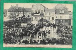 Villeneuve-L'Archevêque (89) La Mi-Carême Présentation Du Garde-Champêtre 2scans Café Du Commerce Carte Animée 1908 - Villeneuve-l'Archevêque