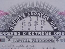 JAPON - SA DES VERRERIES D'EXTREME ORIENT - ACTION DE 100 YEN - TOKYO 1907 - DECO - GRAND FORMAT - Acciones & Títulos