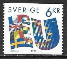 Suède 1995 N°1862 Neuf Entrée Dans L'Union Européenne - Suède