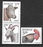 Suède 1995 N°1841/1843 Neufs Animaux D'élevage - Unused Stamps