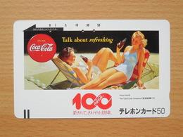 Japon Japan Free Front Bar, Balken Phonecard - 110-5615 / Coca Cola - Talk About Refreshing / 100 - Lebensmittel