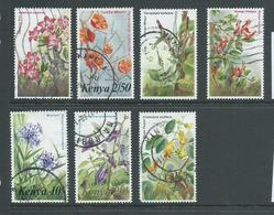 Kenya 1983 Flowers Group Of 7 2/- -> 40/- FU , One With Rounded Corner Perf - Kenya (1963-...)