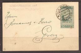 "AUSTRIA / BOSNIA. 1909. COMMERCIAL IMPRINTED CARD. FROM SARAJEVO NEWSPAPER ""SARAJEVOER TAGBLATT"" TO GRAZ. - Bosnia And Herzegovina"
