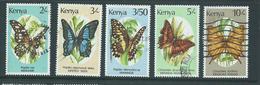 Kenya 1988 Butterflies Group Of 5 2/- To 10/- FU - Kenya (1963-...)