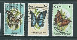 Kenya 1988 Butterflies Group Of 3 2/- To 5/- FU - Kenya (1963-...)