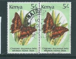 Kenya 1988 5/- Butterfly Pair Used , Right Value Creasing - Kenya (1963-...)