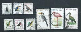 Kenya 1993 Birds Part Set Of 9 5/- To 100/- FU , One With Rounded Corner - Kenya (1963-...)