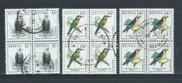 Kenya 1993 Birds 5/- , 10/- & 14/- FU Blocks Of 4 - Kenya (1963-...)