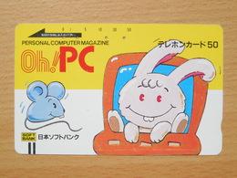 Japon Japan Free Front Bar, Balken Phonecard - / 110-6287 / Mouse And Rabbit / Computer Magazine - Japon