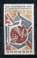 Andorra (Fr) 1974 UPU Centenary MLH - Andorra Francesa