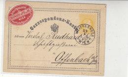 Ganzsache Aus WEISSGÄRBER WIEN 26.6.73 Nach Offenbach / Mit Vignette - 1850-1918 Impero
