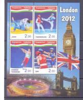 2012. Tajikistan, Summer Olympic Games London'2012, S/s  Perforated, Mint/** - Tadschikistan