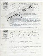 03 - Allier - ST-POURCAIN - Facture VINCENT - Automobiles Et Cycles - 1922 - REF 122A - France