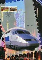 France - FDC -2001- Les Légendes Du Rail, Encart Philatélique Sans Télécarte (carte Format 21/29) - FDC