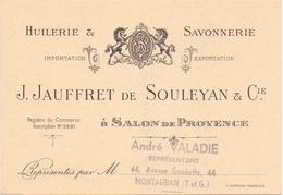 Pub Reclame Kaart Carte Huilerie Savonnerie J.Jauffret De Souleyan & Cie - Salon De Provence - Publicités