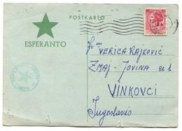 ESPERANTO Italy - Postal Stationery 1959. Traveled To Croatia - Esperanto