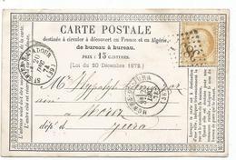 CERES 15C  CARTE PRECURSEUR GC 3897 TYPE 16 ST SEVER L'ADOUR 20 Dec 1874 (39) LANDES POUR JURA - Marcophilie (Lettres)