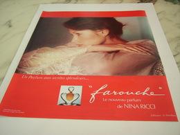ANCIENNE PUBLICITE PARFUM  FAROUCHE DE NINA RICCI  1976 - Perfume & Beauty