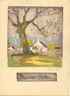 Gravure Ets - Ingekleurd - Landschap Paysage - Handtekening Claude - Gravures