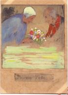 Gravure Ets - Ingekleurd - Oud Koppel Met Bloemen - Handtekening Claude - Gravures
