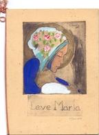 Gravure Ets - Ingekleurd - Devotie - Leve Maria - Handtekening Claude - Gravures