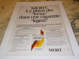 ANCIENNE PUBLICITE PLAISIR DES FORTES CIGARETTE MERIT 1977 - Tabac (objets Liés)